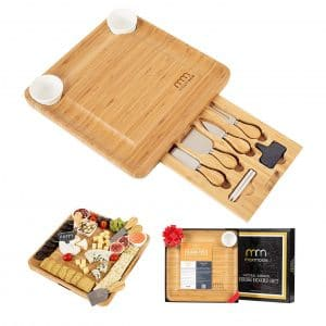 MaxMoxie Brie and Meat Cheese Board with Cutlery Set for Mom, Valentine Birthday Gift