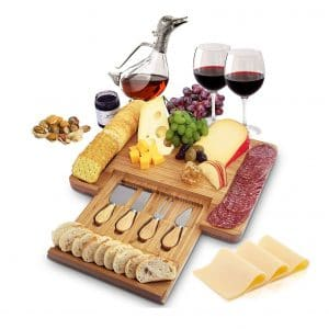 Home Euphoria Serving Tray Natural Bamboo Cheese Board with Slide-out Drawer