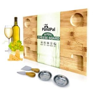 PandPal Bamboo Wooden Cheese Board Smile and Extra-large Food Serving Tray