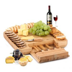 DRAGONN Natural Bamboo Serves Crackers Cheese Board