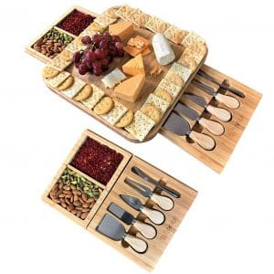 iBambooMart Wooden Charcuterie Cheese Board with Knife Set for Birthday and Wedding Gifts