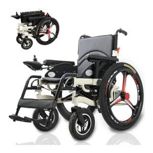 ZXOIHH Folding Portable Powerchair Electric Wheelchair for Disabled Elderly