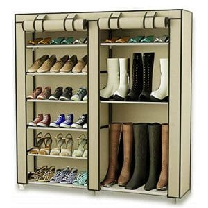 Take your organization and storage to a higher level with this stackable rack from ClosetMaid TXT&BAZ. The rack is made from high-quality and durable polymer plastic, and it is built to last. Furthermore, the unit measures 46 inches x 11 inches x 43 inches and can store up to 27 pairs of shoes. This Boot Rack is very easy and quick to assemble under 15 minutes, and no tools are required. The shoe rack is perfect for kids, men and women boots and boots. It is a great organizational tool that will help to maximize storage space, and it is ideal for hallway, cabinets, closets and entry shoe storage.