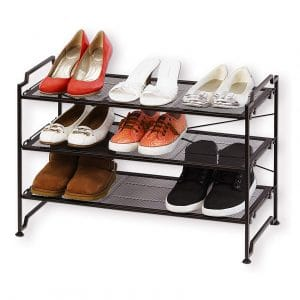 Simple Houseware Three-Tier Storage Organizer Stackable Shoes Rack, Bronze
