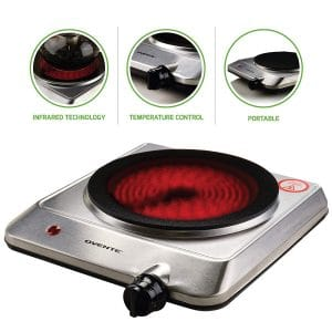 Ovente Electric BGI201S Single-Plate 7.5 inches Infrared Burner