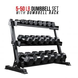 REP FITNESS Rubber Hex Dumbbell Set with Rack