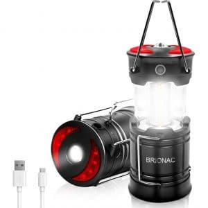 BRIONAC Rechargeable LED Camping Lantern Flashlight
