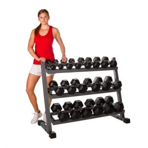 XMARK Rubber Hex Dumbbell Set with Rack
