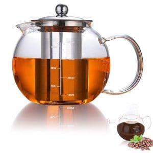AUBBC Glass Teapot with Stainless Steel Infuser