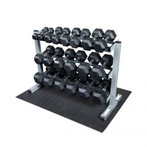 Body-Solid 3-Tier Horizontal Dumbbell Rack with Rubber Hex Dumbbells