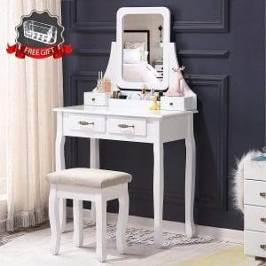 Unihome Vanity Set with Mirror and Cushioned Stool