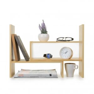 Adjustable Natural Wood Desktop Storage Organizer