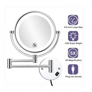 ALHAKIN Wall Mounted Lighted Makeup Mirror