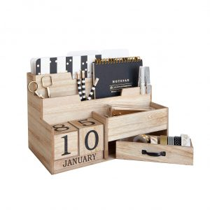 Wooden Mail Organizer Desk with Block Calendar