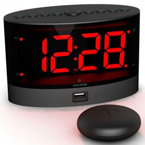 ANJAK Loud Alarm Clock with Wireless Bed Shaker