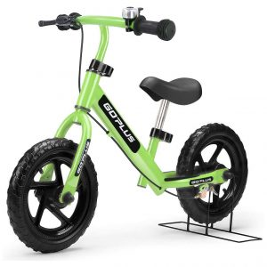 Goplus 12 Inches No Pedal Kids Balance Bike with Bell Ring, Brake, Adjustable Seat, and Bar