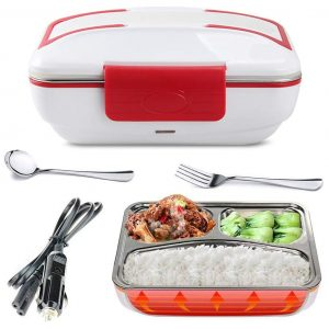 LOHOME Electric Self Heating Lunch Box with Car Plug in (Red)