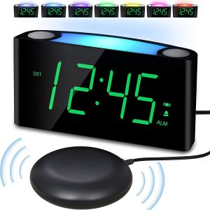 PPLEE Vibrating Loud Alarm Clock with Bed Shaker
