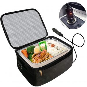 Real Nature 12V Portable Oven Food Warmer for Road Trip Camping (Black)