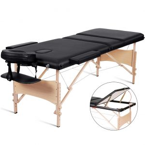 MaxKare Massage Table - Height Adjustable With a Carrying Bag, Black