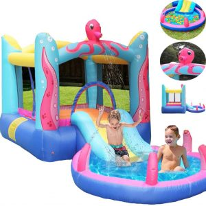Ziloco Inflatable Bouncing House with Water Slide for Families and kid (Multicolour)