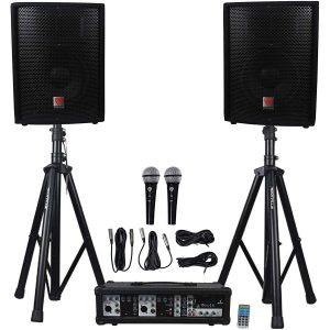 Rockville Package PA System Mixer 10 Inches Speakers