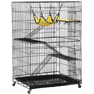 Yaheetech Collapsible Large 4-Tier Metal Pet Cat Kitten Cage