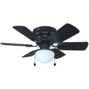 Hardware House 23-5389 Arcadia 30-Inch Black Flush Mount Ceiling Fan