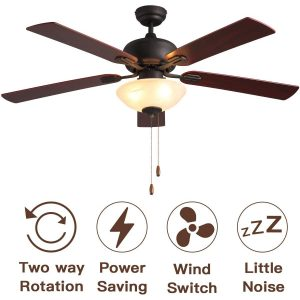 Ceiling Fan with Light,52-inch Brown