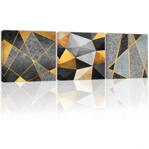 Décor for Wall Modern Abstract Black and White Golden Canvas for Living Rooms