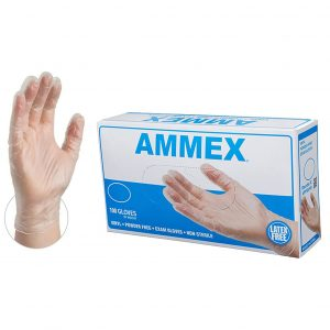 AMMEX Medical VPF64100-BX Clear Vinyl Disposable Gloves, Non-Sterile