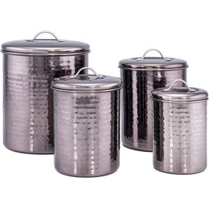 Old Dutch 4 Piece Hammered Black Pearl Canister Set