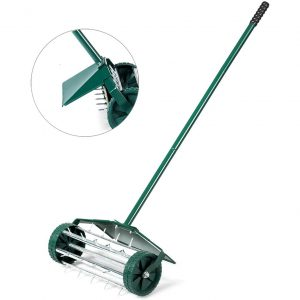 Goplus Rolling Garden Yard Rotary Lawn Aerator with 50-in Handle