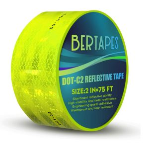 BERTAPES Yellow Reflective Tape High Viscosity 2-Inches x 75FT
