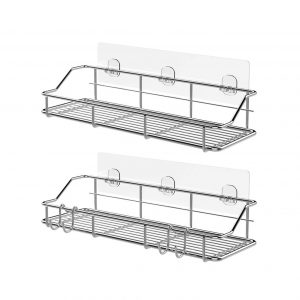 KESOL 304 Stainless Steel Adhesive Shower Shelf with Hooks
